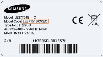 Plaque étiquette modèle Samsung